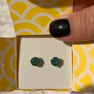 Origami Owl aqua blue stud earrings